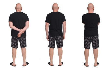 view of the same man in pajama shorts background, rear view 版權商用圖片 - 150657508
