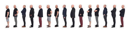 side view of a man in various outfits shorts, casual, pygamas, sportswear, elegance on white background 版權商用圖片 - 150655685