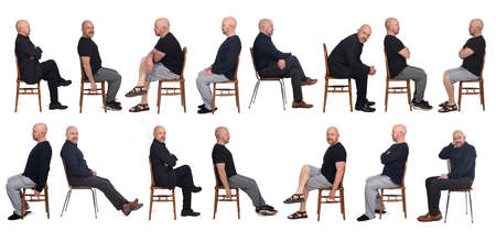 same man view in various outfits sitting on white background, side view
