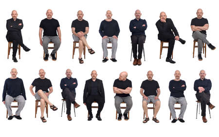 same man view in various outfits sitting on white background, front view