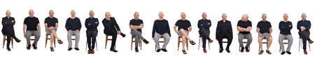 line of same man view in various outfits sitting on white background, front view
