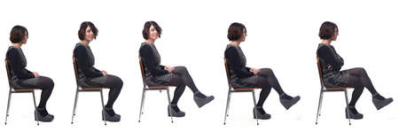 the same woman sitting in various ways ,side view, on white background Archivio Fotografico