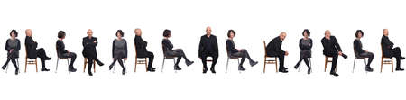 portrait of group of same couple sitting on a chair with front and profile on white background