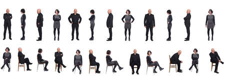 portrait of group of same couple sitting and standing on a chair with front and profile on white background