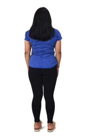 full portrait of a latin american girl of back on white background