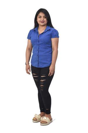 full portrait of a latin american girl on white background 版權商用圖片 - 155047251