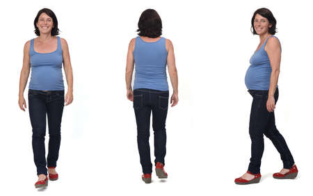 front, back, side view of full portrait of a pregnant same woman standing and with casual clothes on white background, 版權商用圖片