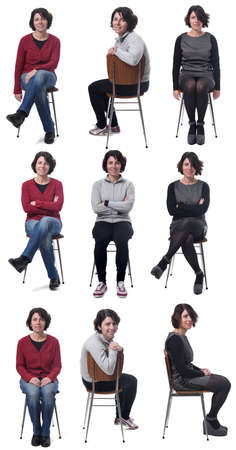 woman with various types of outfits and pregnant on white background 版權商用圖片