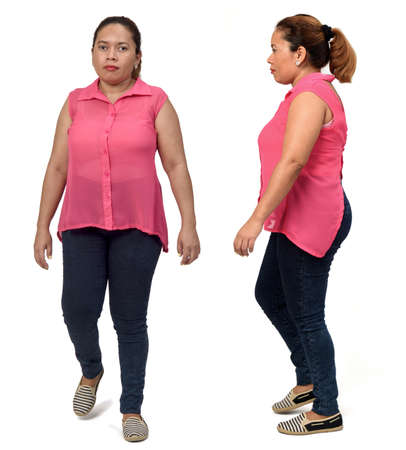 large group of same woman with sportswear on white background, back,side and rear view Banco de Imagens