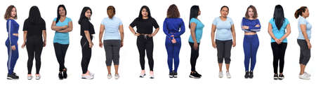 large group back and front view of Latin American women with sportswear on white background