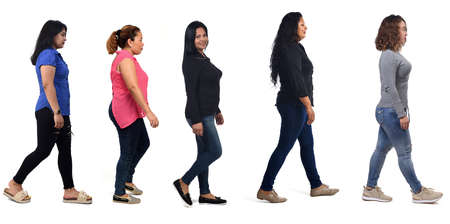 front vieo of a group of latin american women walking on white background