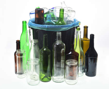 group of garbage can with bottles for recycling on white background