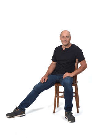 full portrait of a bald man on white background, front view 版權商用圖片