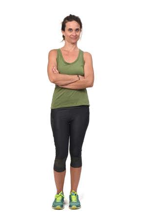 side view of a woman with sportswear on white background, Zdjęcie Seryjne