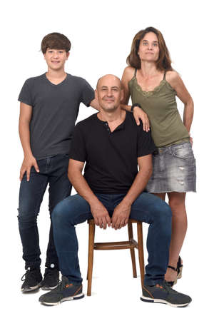 full portrait of a family on white background