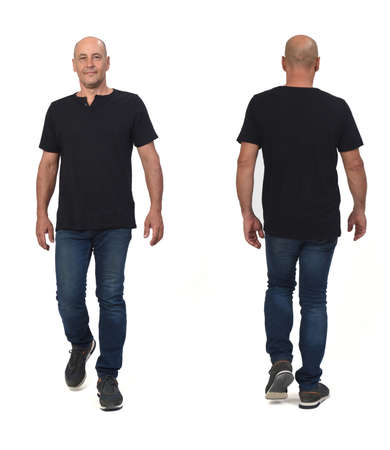 front and back view of man wearing with sportswear t-shirt and shorts walking on white background,