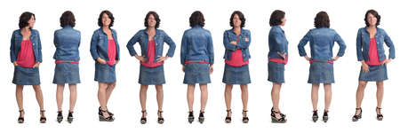 group of same woman wearing skirt and jacket with front,back and side view on white background Reklamní fotografie