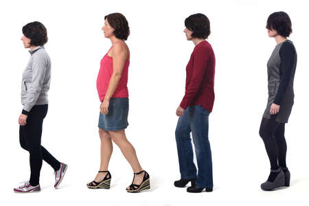 woman dressed in different outfits like sportswear, blue jeans, dress and skirt walking on white background