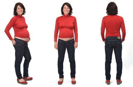 front, back, side view of full portrait of a pregnant same woman standing and with casual clothes on white background, 免版税图像