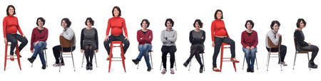 the same woman in different outfits and pregnant sitting in a chair on white background 免版税图像