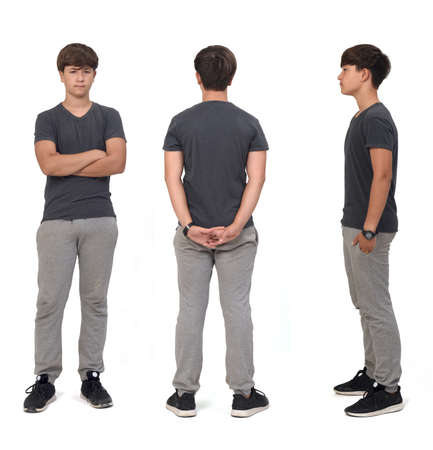 front,side and back view of same teenage boy with sportswear on white