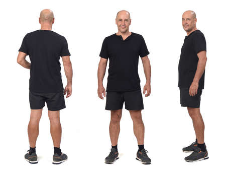 front, side and rear view of a same man wearing sports shirt and shorts, Banque d'images