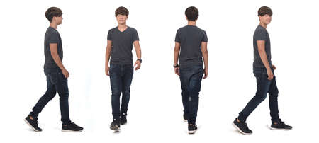 same teenager boy walking on white, front, back and side view Standard-Bild