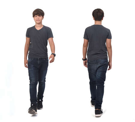 same teenager boy walking on white, front and back view
