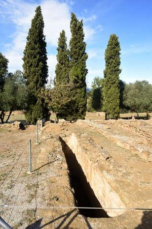 tank of ruins of the Iberian settlement of Ullastret, Girona province, Catalonia, Spain,