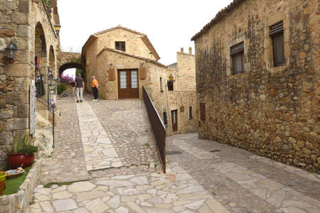 streets of the old town of medieval village of Pals, Girona province, Catalonia, Spain