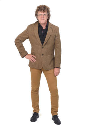 front view of middle aged man with blazer on white background, hand on hip