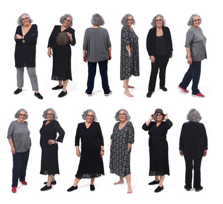 the same woman with different outfits on white background