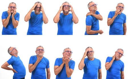 the same man with different pains on white background