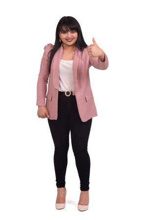 full portrait of a woman with thumbs up sing on white background