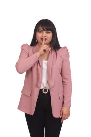 woman covering his mouth on white background