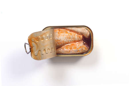 can of pickled sardines on white background