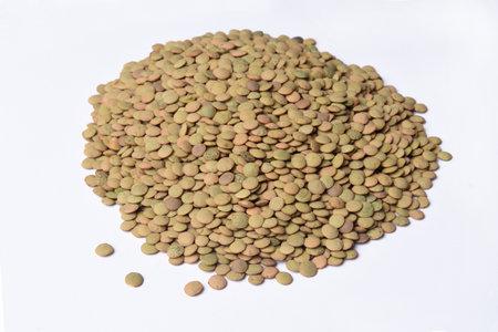 heap of Salamanca lentils on white background Zdjęcie Seryjne