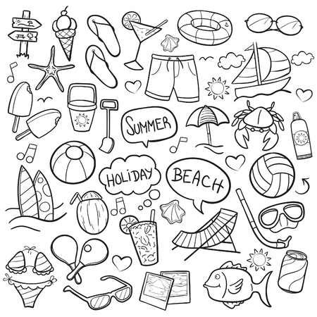 Beach Summer Doodle Icon Sketch Vector Art