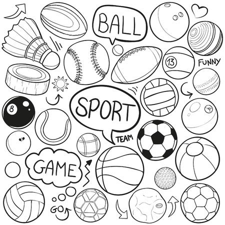 Sport Balls Doodle Icon Sketch Vector Art