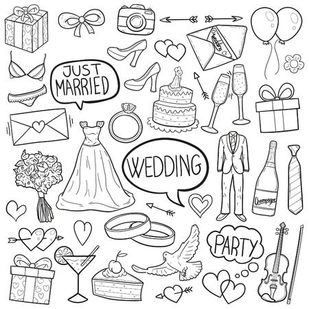結婚式のパーティー落書きアイコン スケッチ ベクター アート  イラスト・ベクター素材