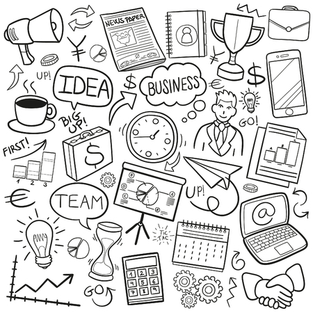Business Financial Work Doodle Icon Sketch Vector Art