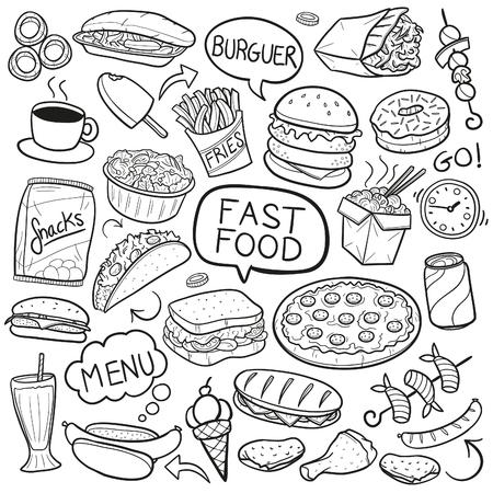 Fast Food Restaurant Doodle Menu Pictogram Schets Vector Art Vector Illustratie