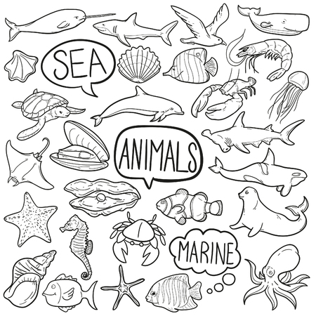 Sea Animals Doodle Icon Sketch Vector Art
