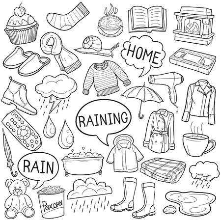 Raining Raining Doodle Icon Sketch Vector Art