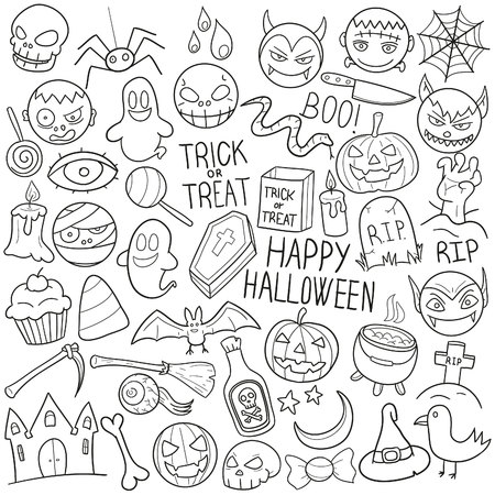 a snake in a bag: Halloween Party Doodle Icon Sketch Vector Art