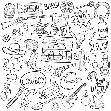 Far West Cowboy Western Doodle Icon Sketch Vector Art