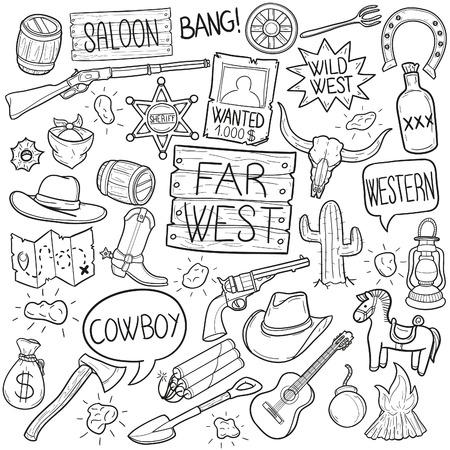Vaqueros del lejano oeste Arte del vector del bosquejo del icono del Doodle