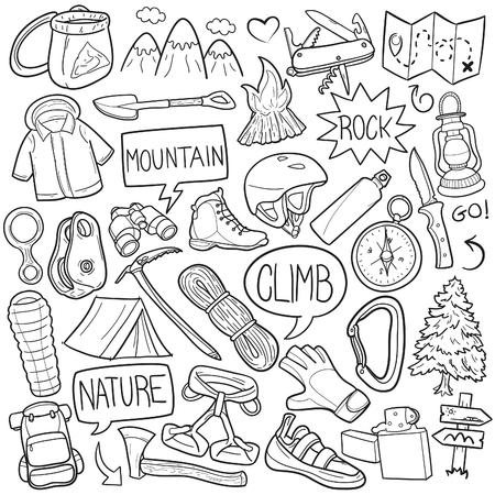 Climber Mountain Climbing Doodle Icon Sketch Vector Art