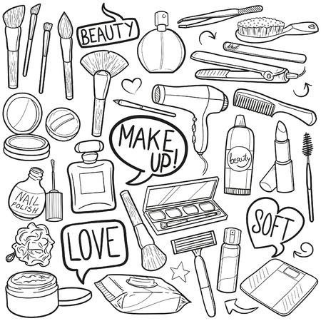 Beauty Make up Woman Doodle Icon Sketch Vector Art