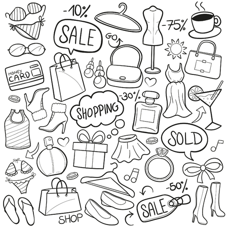 salts: Shopping Woman Doodle Icon Sketch Vector Art